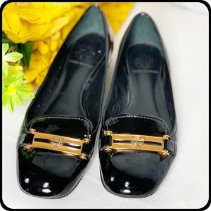 Tory Burch black patent leather loafer